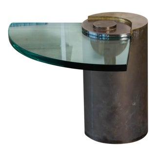Karl Springer Postmodern Cantilevered Glass Side Table For Sale