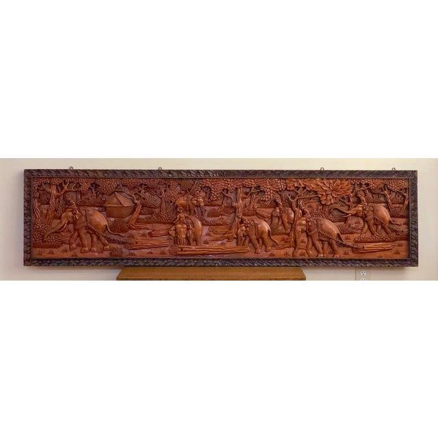Large Vintage Wall Sculpture 3d Hand Carved Relief Teak Panel For Sale - Image 9 of 13