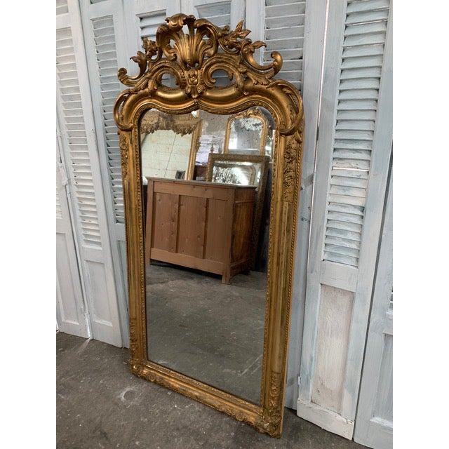 French Provincial 18th Century Ornate French Louis Philippe Style Mirror For Sale - Image 3 of 13