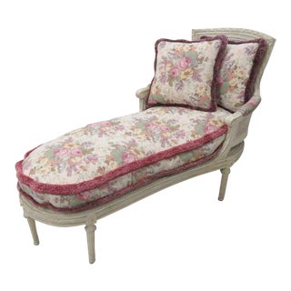 French Louis XVI Cream Caned Chaise Lounge For Sale