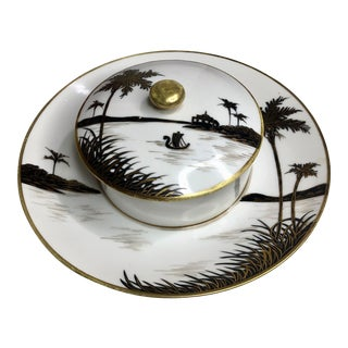 Antique Nippon Morimura Black & White Hand Painted Bowl & Lid For Sale