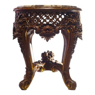 19th C. French Giltwood Marble Top Table For Sale