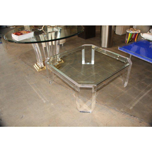 Glass Charles Hollis Jones Model 505 Lucite and Glass Coffee Table For Sale - Image 7 of 7
