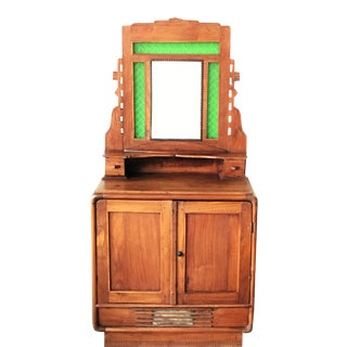Oak Sideboard With Mirror & Green Glass