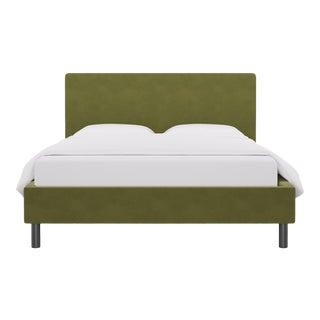 Queen Tailored Platform Bed in Moss Velvet For Sale