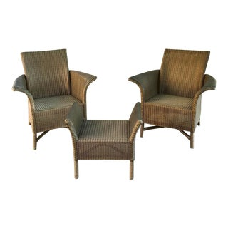 Mid-Century Lloyd Loom Armchairs With Armbench-Footstool - a Pair For Sale