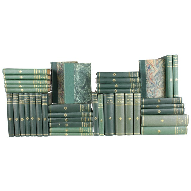 French Designer Books in Greens - Set of 38 - Image 1 of 3