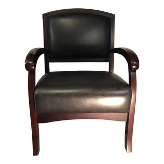 Modern Wood & Leather Accent Chair