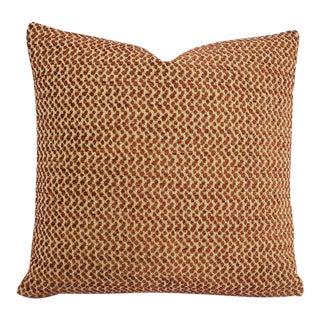 "F. Schumacher Colombo in Brick Pillow Cover - 20"" X 20"" Terra Cotta and Cream Chenille Spot Accent Cushion Case For Sale"