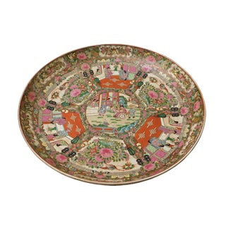 Chinese Porcelain Canton Pink Famille Color Flower Scenery Large Plate