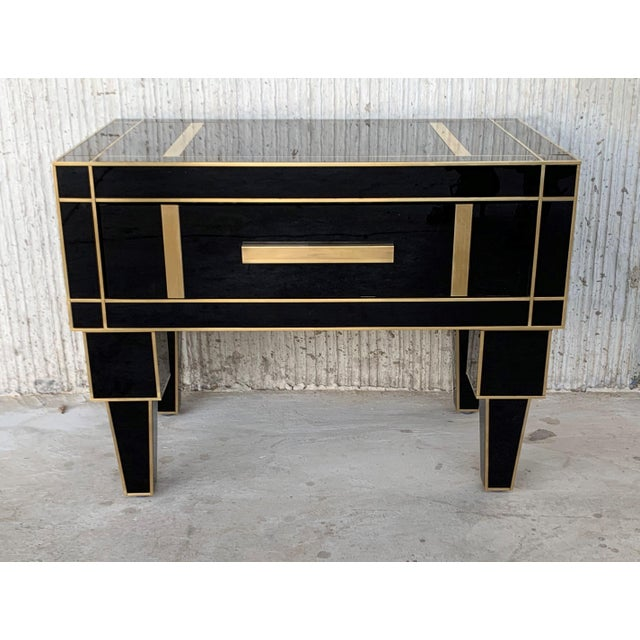New Pair of Mirrored Low Nightstand in Black Mirror and Chrome With Drawer For Sale In Miami - Image 6 of 11
