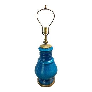 Mid-Century Turquoise Ceramic and Brass Lamp