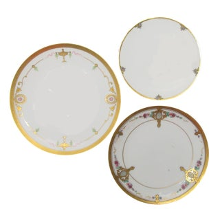 Antique Pickard Hand-Painted Plates, S/3 For Sale