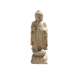 Chinese Small Brown White Stone Standing Abhaya Mudra Buddha Statue For Sale