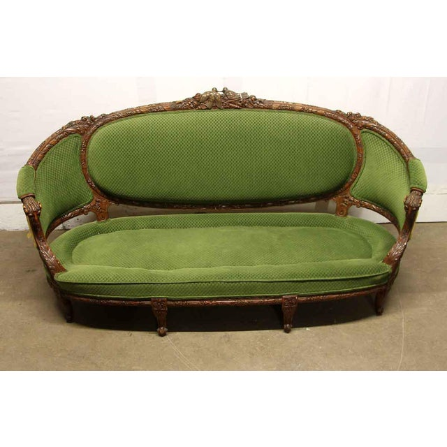 Victorian Carved Wood Frame & Green Upholstery Victorian Sofa For Sale - Image 3 of 13