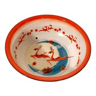 20th Century Cottage Enamel Bowl With Gazelle Design For Sale