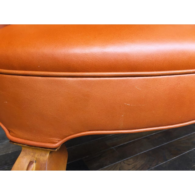 1940s Leather Wingback Armchair Attributed to Frits Henningsen For Sale - Image 10 of 12