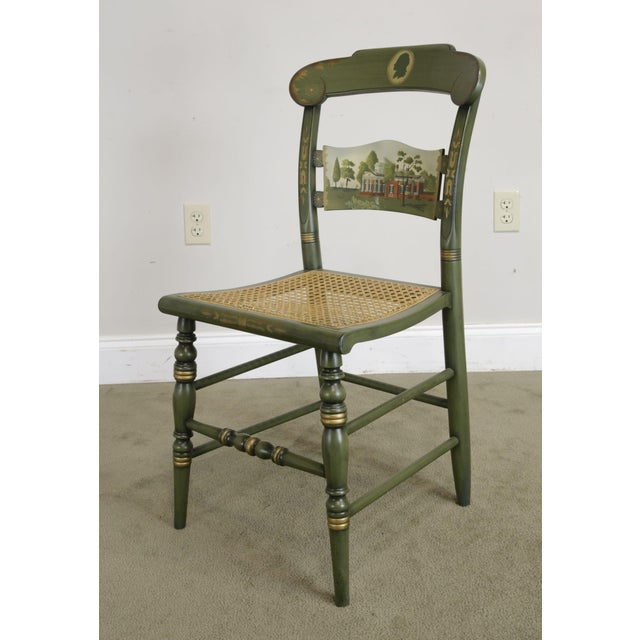 American Made Solid Wood Green Painted Cane Seat Side Chair by Hitchcock