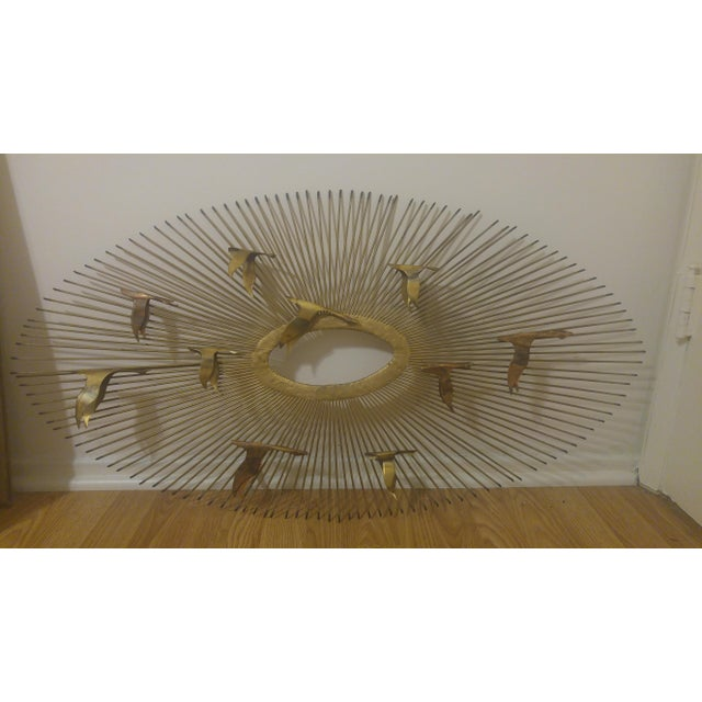 Curtis Jere Mid-Century Modern Curtis Jere Sunburst and Birds Sculpture Wall Art For Sale - Image 4 of 5