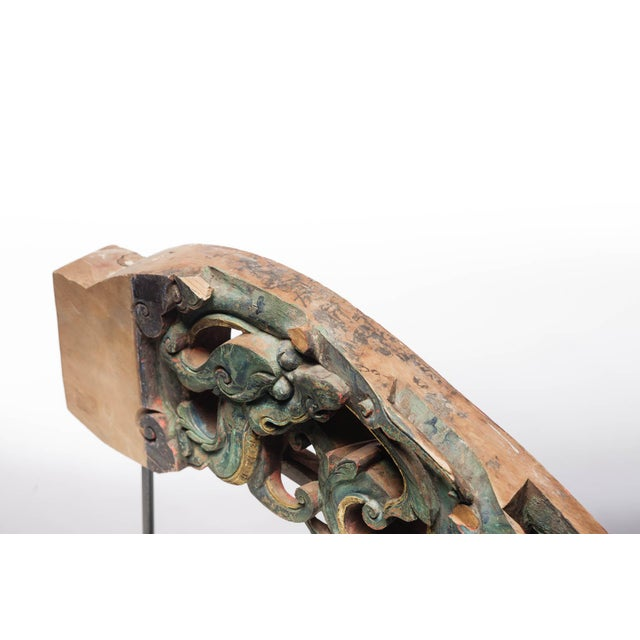 18th Century Statement Piece Antique Carved Temple Fragment With Blue and Green Paint on a Custom Metal Stand For Sale - Image 5 of 8