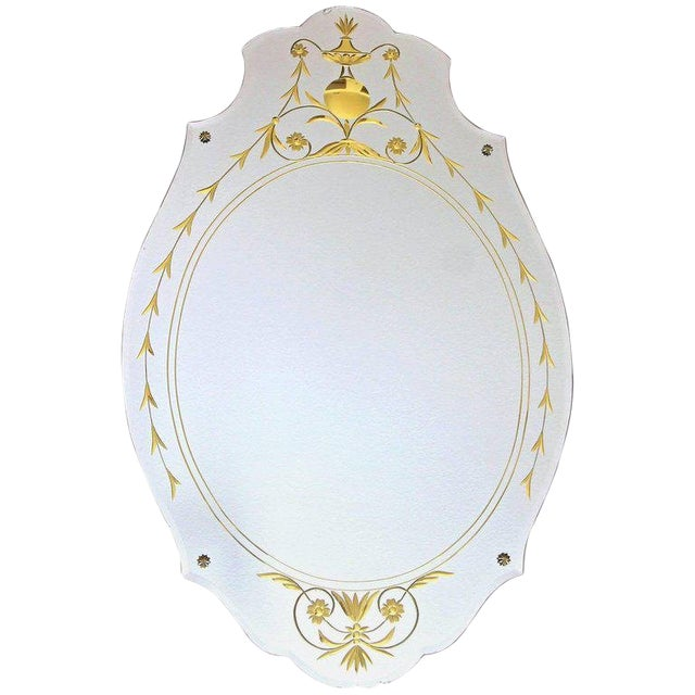 1930s Art Deco Etched Gold Wall Mirror For Sale
