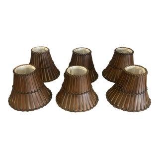 1990s Vintage Bentwood Rattan Split Wood Bamboo Chandelier Lamp Shades - Set of 6 For Sale