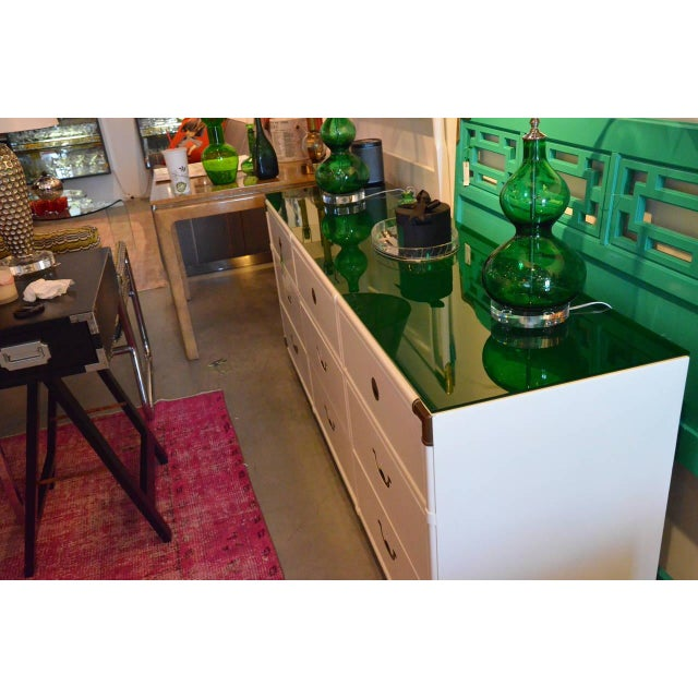 Drexel Lacquered White with Emerald Lucite-Top Campaign Dresser - Image 5 of 9
