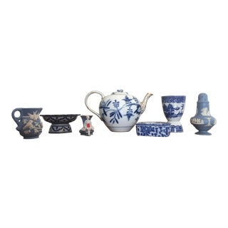 Chinoiserie Blue and White Styling Pieces - Set of 7 For Sale