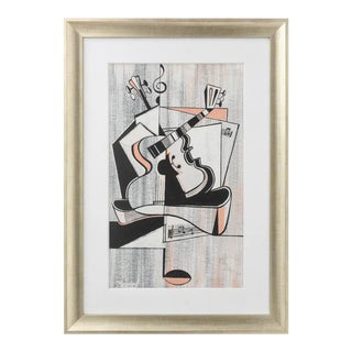 Cubist, Pencil Pastel, Assemblage of Musical Instruments & Notes, Signed Record