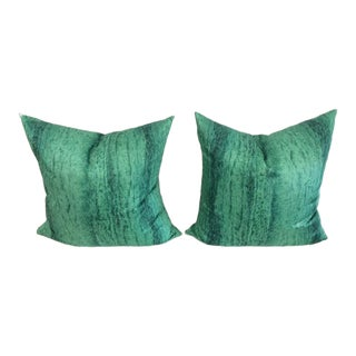 Contemporary Malachite Pillows - A Pair For Sale