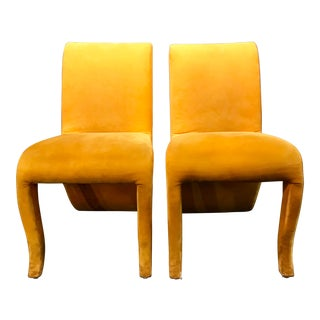 1980s Modern Dialogica New York Splash Dining Chairs - A Pair For Sale