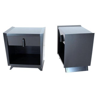 Pair of Black Lacquer One Drawer End Tables or Nightstands For Sale