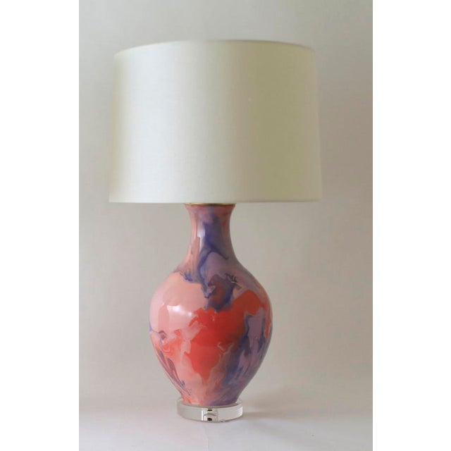 The ATHENS lamp is shown in our Geode glaze pattern. Handmade and signed by Paul Schneider. Lead time three weeks. LAMP...