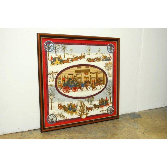 "Traditional Framed Hermes Scarf ""Bull and Mouth Regent's Circus Piccadilly"" For Sale - Image 3 of 10"