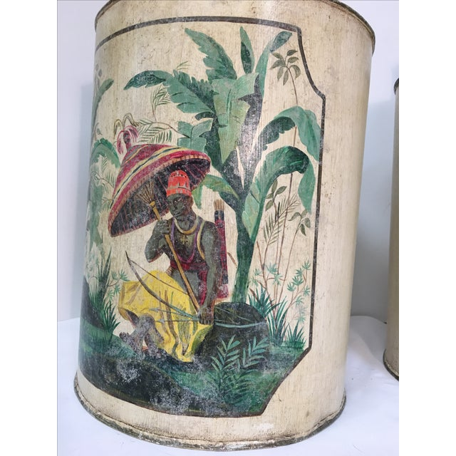 Vintage Tropical Blackamoor Hand Painted Table Lamps - Pair - Image 5 of 11