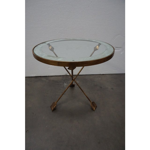Hollywood Regency Brass Tripod Arrow Base Side Table For Sale - Image 3 of 10