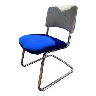Vintage Mid Century Blue & Silver Chair For Sale