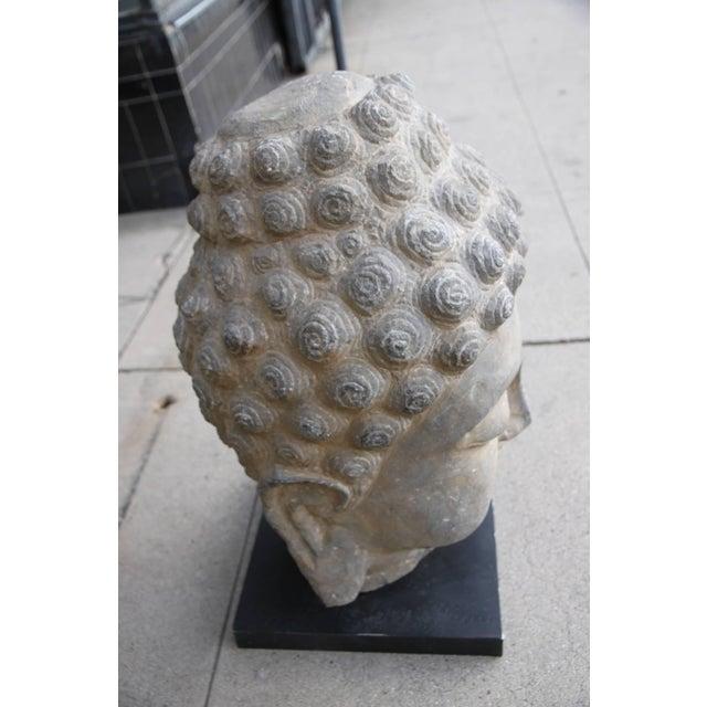 Antique Sandstone Buddha on Steel Base $2,400 For Sale - Image 4 of 7