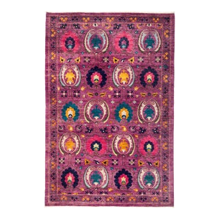 "Suzani Hand Knotted Area Rug - 5' 10"" X 8' 10"" For Sale"