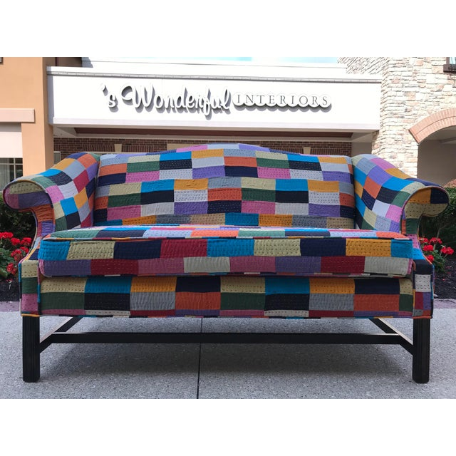 Purple Love Seat 20th Century Patchwork Fabric Camel Back Sofa Settee BoHo Chic Multi Color For Sale - Image 8 of 8