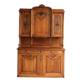 Antique French Country Walnut Hutch For Sale