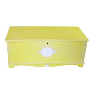 Whitewashed Citron Painted Antique Red Cedar Chest by Gregory Furniture Mfg. For Sale