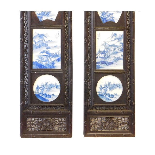 Blue/White Porcelain Wood Framed Wall Art - Set/4 - Image 7 of 9