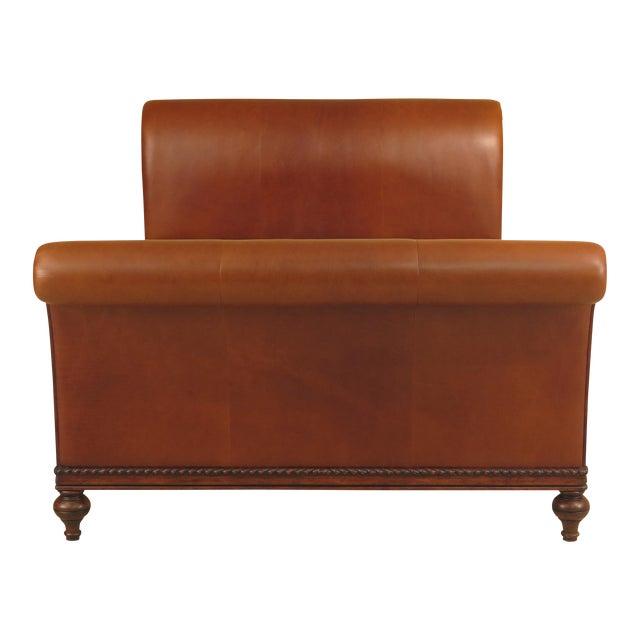 Modern Ethan Allen Queen Size Leather Sleigh Bed