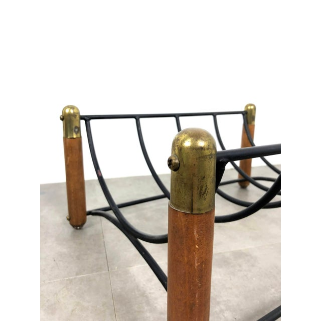Seymour 1960's Walnut Iron & Brass Fire Tools and Log Rack - Set of 6 For Sale In Detroit - Image 6 of 11