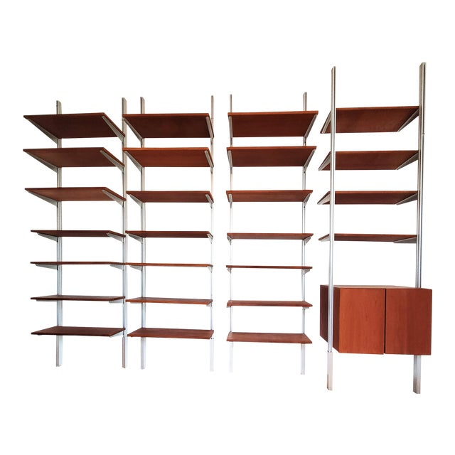 A Mid Century Modern Wall Unit Bookshelves System For Sale