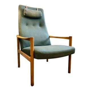Vintage Swedish Modern High-Back Lounge Chair For Sale