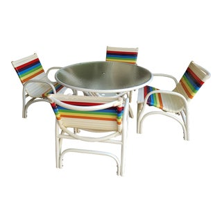 1980s Vintage Rainbow Striped Patio Dining Set For Sale