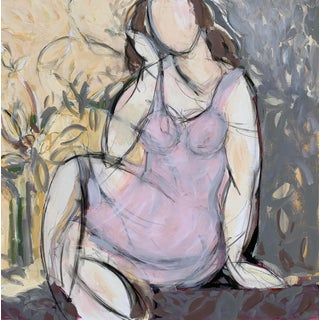 Seated Woman With Flowers I For Sale