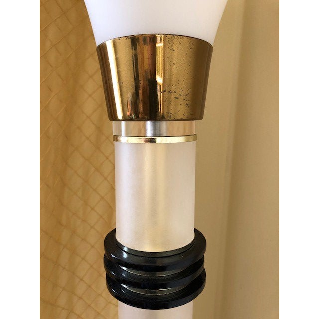 Glass Vintage 1960's Mid Century Modern Brass and Lucite Bauer Torchiere Floor Lamp For Sale - Image 7 of 9